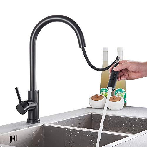 Onyzpily Edelstahl küchenarmatur mit ausziehbar Schwarz 360° drehbar Wasserhahn Küche Armatur Spüle Mischbatterie Einhebel Spültischarmatur Spiralfederarmatur