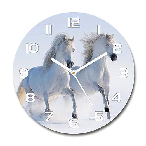 Tulup Redondo Reloj De Pared De Vidrio 60cm Silenciosa Grande Original Moderno Decorativo Manecillas Blancas - Dos Caballos En La Nieve