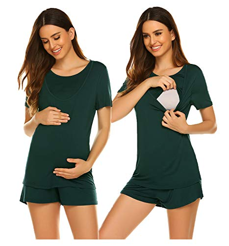 Ekouaer Womens Maternity Nursing Tee Shirt Double Layer Breastfeeding Tops