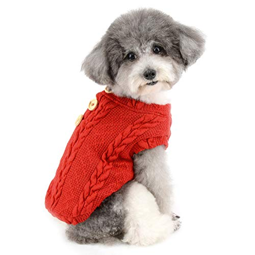 Zunea Kleiner Hundepullover für den Winter, warm, mit Fleece gefüttert, Strickmuster für Welpen, weiche Haustier-Pullover, Strickwaren, für Jungen und Mädchen, Rot, Größe L
