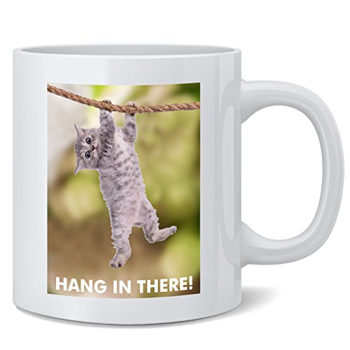 Poster Foundry Hang in There Cat Retro Funny Ceramic Coffee Mug Tea Cup Fun Novelty Gift 12 oz