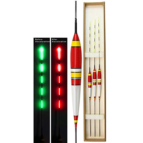 Genlesh 3 Stück LED Smart Night Fishing Bojy, Elektronische Leuchtposen für Angelliebhaber Bs-001