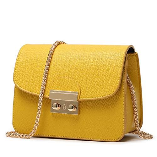 CHIKENCALL Damentasche Kleine Damen Umhängetasche Citytasche Schultertasche Handtasche Elegant Retro Vintage Tasche Kette Band (Yellow)