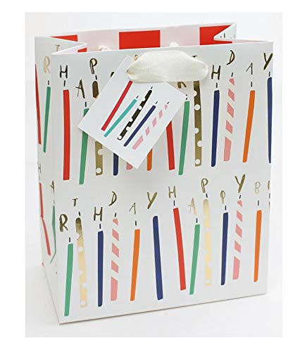 Caroline Gardner Collection Happy Birthday Candles Medium Gift Bag with Gift Tag
