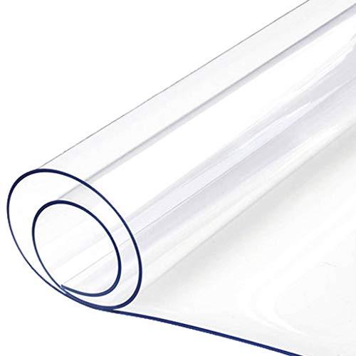 FJK Redondo Cristal Mantel, PVC Transparente Impermeable Antimanchas a Prueba de Aceite Manteles Estera de Tabla Adecuado para Bajo Techo/en Exteriores-Grueso:1.5mm-Diámetro:120cm(47pulgada)