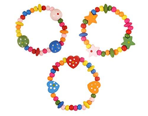 Henbrandt 12x Braccialetti legno per bambini - borse da party / braccialetti bimba / giocattoli per bambini / Giocattoli di compleanno / gioielli per bambini
