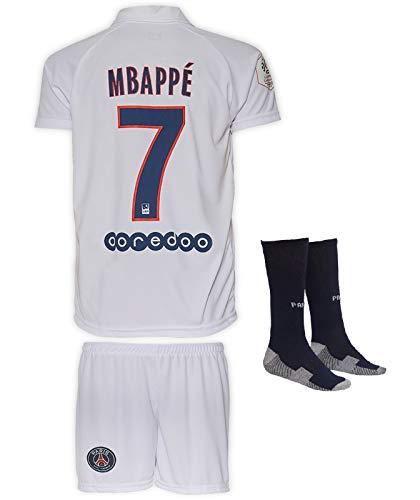 JTex PSG 2019-20 Mbappe-Neymar - Maglia a maniche lunghe da trasferta per bambini, con pantaloncini e calze, taglie 2-14, 152 (8-9 Alter)