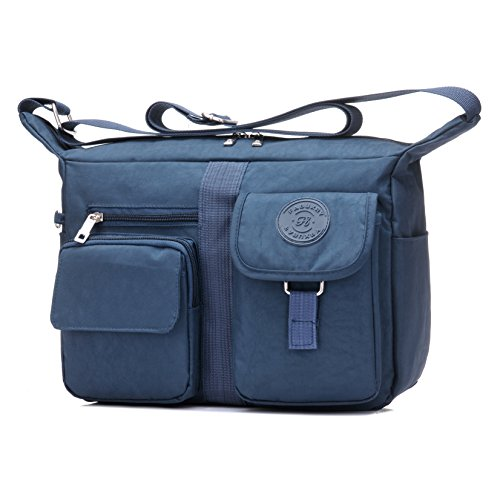 Fabuxry Women's Shoulder Bags Casual Handbag Travel Bag Messenger Cross Body Nylon Bags (Navy)