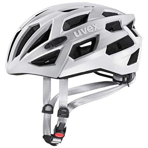Uvex Unisex– Erwachsene, race 7 Fahrradhelm, silver mat white, 51-55 cm