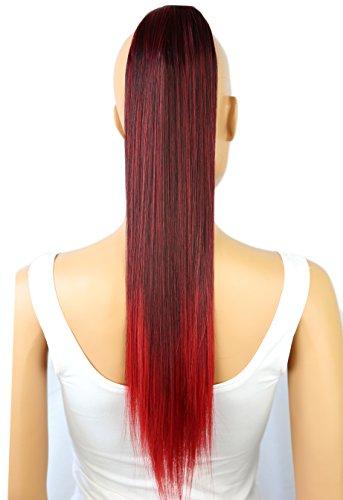 PRETTYSHOP 60cm Haarteil Zopf Pferdeschwanz Haarverlängerung Glatt Schwarz Rot Mix HCB1