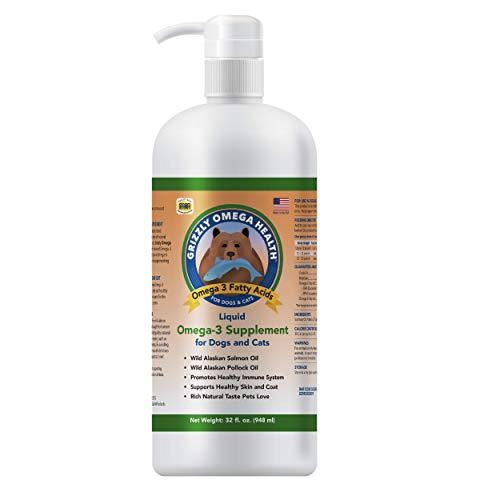 Grizzly Omega Health for Dogs & Cats  Wild Salmon Oil/Pollock Oil Omega-3 Blend