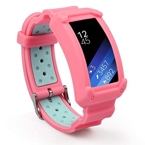 Wonlex Band for Samsung Gear Fit2 / Fit2 Pro, Silicone Replacement Watch Bands Strap Compatible with Galaxy Gear Fit2 SM-R360 & Fit 2 Pro for Women & Men (Pink/Teal)