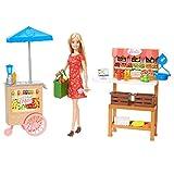 Barbie Famille Coffret poupée blonde et son marché fermier, stands et accessoires, jouet pour enfant, GJB65