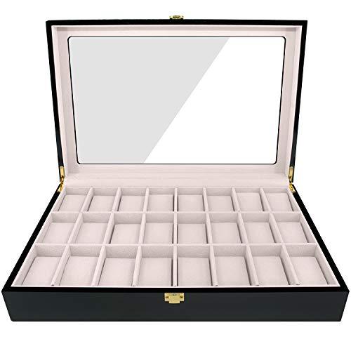 Feibrand Reloj de Madera Caja de Almacenaje para 24 Relojes (Negro)