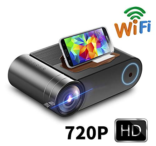 JASZW Bewegliches Film-Projektor, 2800 Lumen / 1080P Wireless WiFi Multi-Screen-Videoprojektor, kompatibel mit TV-Stick, Videospielen, HDMI, USB, VGA, AV