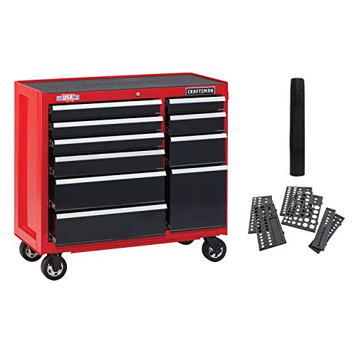 CRAFTSMAN Tool Cabinet with Drawer Liner Roll & Socket Organizer, 41-Inch, Rolling,, 10 Drawer, Red (CMST82772RB)