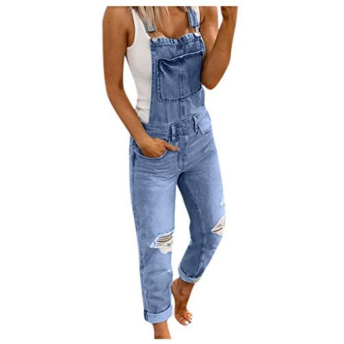 Salopette Donna Elegante, ITISME Salopette Senza Maniche Tuta da Donna con Tasche Donna Pantaloni Salopette Jeans Strappati Tuta Casual Elegante Moda Ufficio Taglie Forti