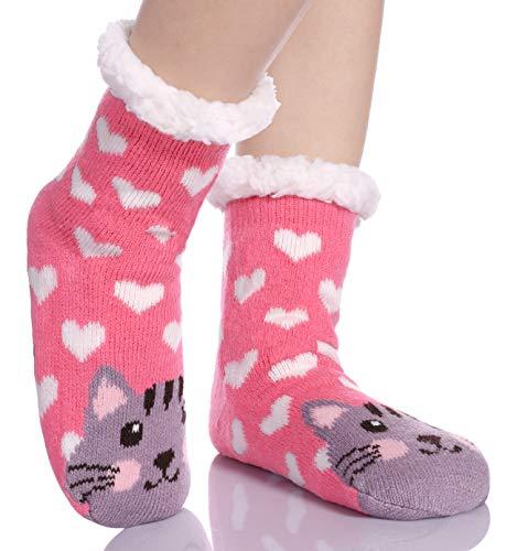 Children's Boys Girls Cute Animal Fuzzy Slipper Socks Soft Warm Thick Fleece Lined Winter Kids Toddlers Christmas Socks (Pink Heart Cat, 8-12 Years)
