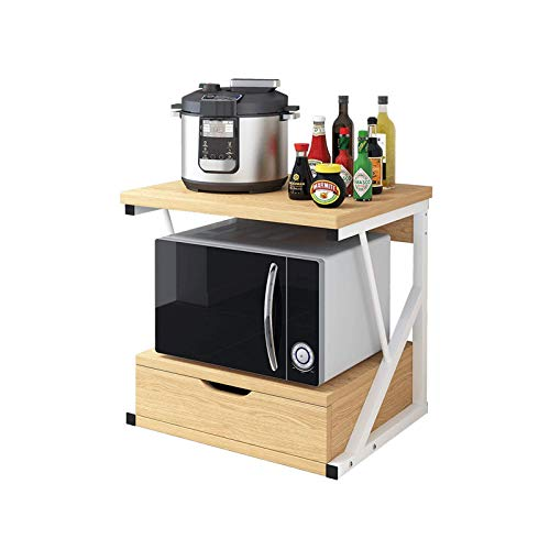 Soporte para microondas de Cocina Estante de Almacenamiento de Escritorio Doble de Madera Soporte de Piso de Almacenamiento para Horno con cajón Organizador de mostrador de Cocina
