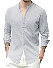 GAGA Men Stand Collar Button Solid Color Blouses Linen Long Sleeve Tops Casual Shirt