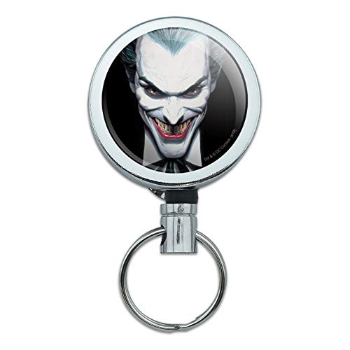 Batman Alex Ross Joker Head Heavy Duty Metal Retractable Reel ID Badge Key Card Tag Holder with Belt Clip