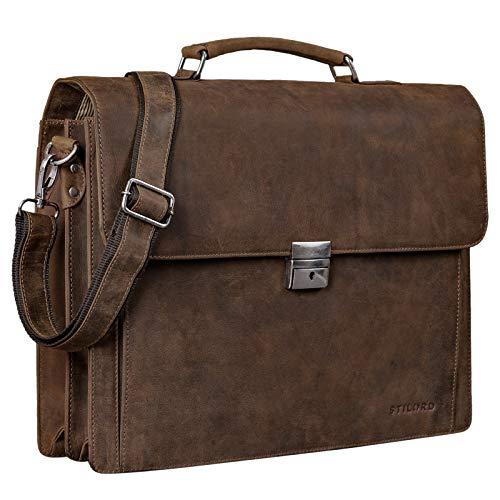 STILORD 'Johann' Klassische Aktentasche Herren Damen Businesstasche für 15,6 Zoll Laptop passend für große DIN A4 Ordner mit Schloss Rinds Leder, Farbe:Missouri - braun