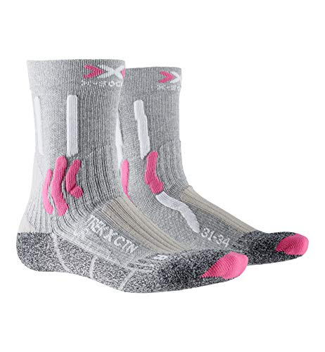 X-SOCKS Trek X Cotton Junior Socks Chausettes Trekking RANDONNÉE Enfants Mixte Adulte, Light Grey Melange/Raspberry, FR : XL (Taille Fabricant : 35/38)