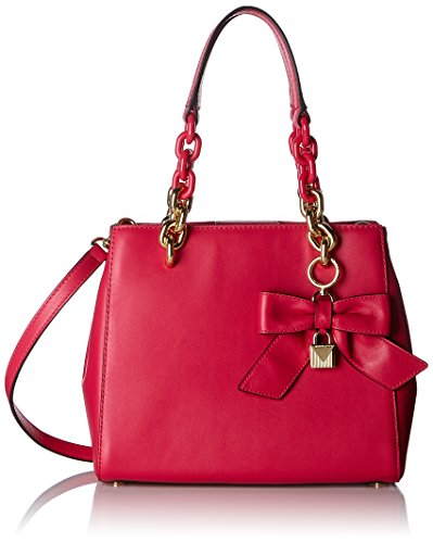 An adorable small bow detail makes this satchel the ultimate addition to your accessory collection ,The feminine look of this stunner will keep you prepared and organized for whatever fun plans come your way. Smooth Polished Ultra Pink leather ; Inte...