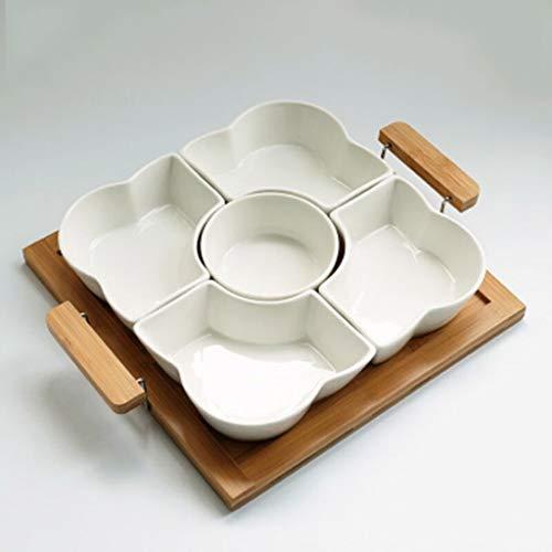 JINZHI Assiette de fruits secs multifonctionnelle, boîte à fruits secs détachable, plateau en bois de bambou, grande plaque carrée + poignée en bambou, plaque transversale renforcée