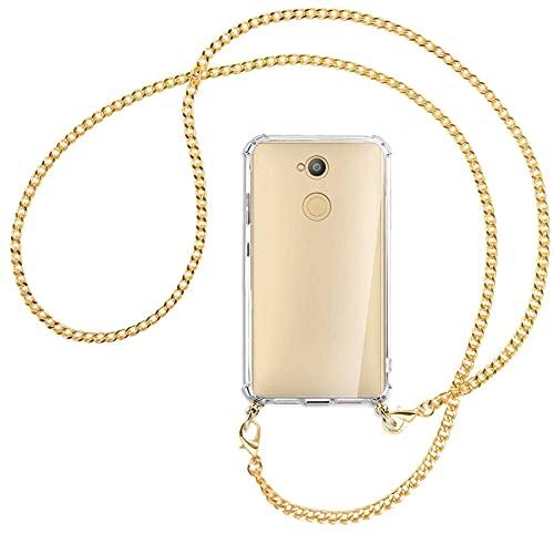mtb more energy® Handykette kompatibel mit Sony Xperia L2, L2 Dual SIM (5.5'') - Metallkette (Gold) - Smartphone Hülle zum Umhängen - Anti Shock Full TPU Hülle