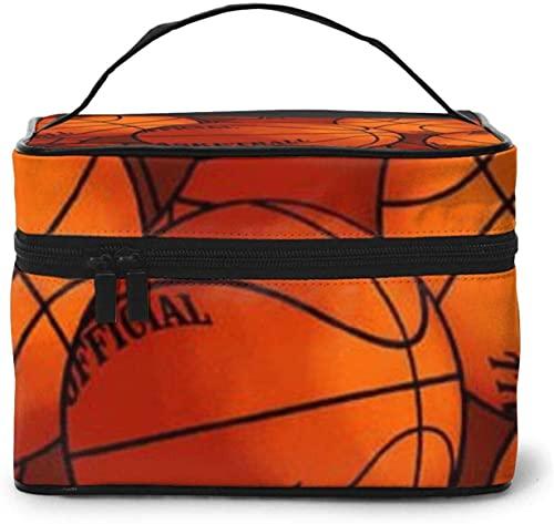 Cesta de baloncesto (3) diseño grande bolsa de maquillaje para mujer, portátil, organizador de viaje con cremallera de malla cepillo de bolsillo con asa chica