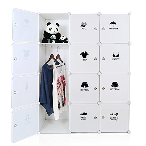 ROKOO Portable Clothes Closet Wardrobe Bedroom Armoire Storage Organizer DIY Modular Cube Shelving...