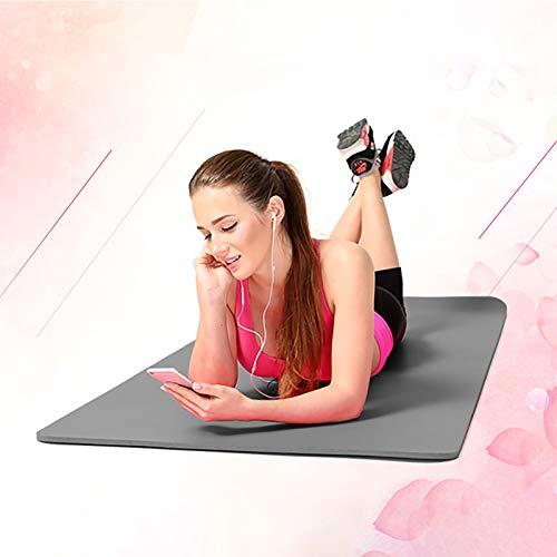 Hunpta - Esterillas de yoga antideslizantes gruesas, ecológicas con correa de transporte para mujeres y hombres, herramienta ideal para yoga, pilates y ejercicios de suelo (gris)