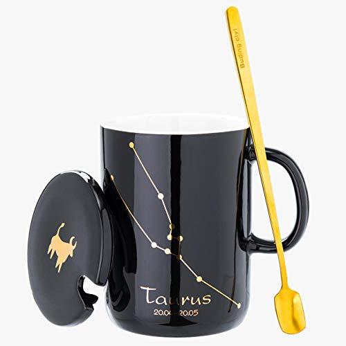 Tassen und Untertassen große Tasse aus Keramik Löffel Tasse Deckel Paar Kaffeebecher Büro Teetasse B