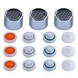 Hibbent Aireador de grifo de lavabo de baño de 3 piezas, piezas de repuesto de aireador de fregadero de cocina, paquete de 12 GPM, 12 retrictor de flujo, rosca hembra de 22 mm, cromo pulido
