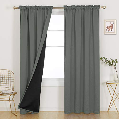 Deconovo 100% Blackout Curtains Thermal Insulated Soundproof Window Panels 95 Inch Long Window Curtains for Balcony Nursery Room Kids Adults Bedroom Living Room, Set of 2, Each 52x95 in, Dark Grey