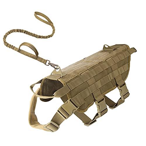 Imbracatura tattica per cani, pettorina per cani, pettorina per cani di taglia piccola, media e grande, traspirante, militare, senza puull