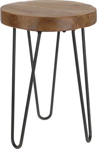 Amadeo Novell Teak Hocker, Holz und Stahl, natur, 30x 30x 40cm