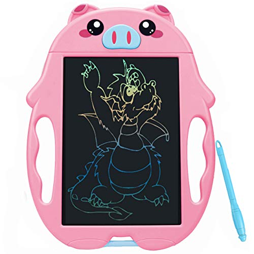 QISHI YUHUA LCD Writing Tablet 9 InchColorful Doodle Board Drawing Board Birthday Present for 26 Years Old Girl Perfect Gifts for Girls Boys Toys Little Kids  Pink Pig