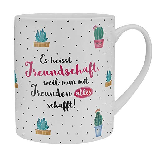 GRUSS & CO Die Geschenkewelt 46215 XL Kaktus-Dekor und Spruch Es heisst Freundschaft, Porzellan, 60 cl Tasse