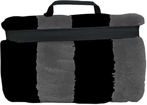 Sitzkissen Klappkissen Stadionkissen Lammfell Streifen schwarz-grau