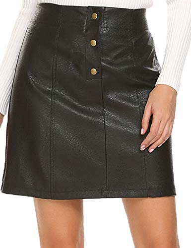 Mofavor Women's Button Front Classic High Waist A Line Faux...