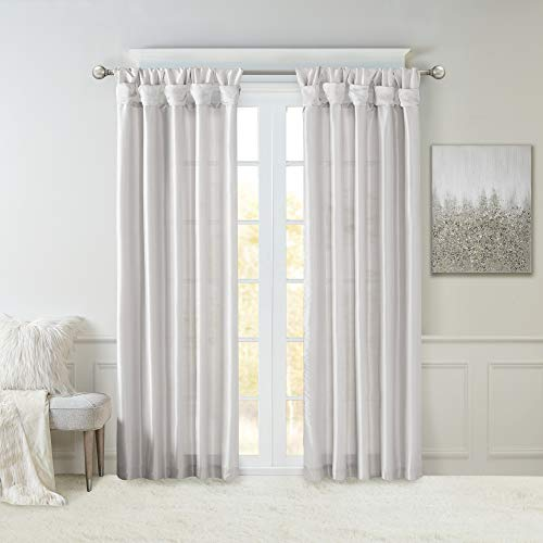 Madison Park Emilia Faux Silk Curtain with Privacy Lining, DIY Twist Tab Top, Window Drapes for Living Room, Bedroom and Dorm, 50x84, Silver