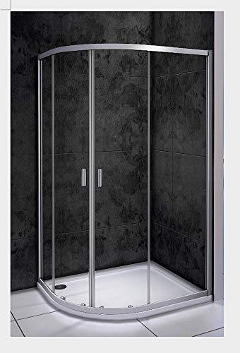 Duschkabine 90x76x185cm Duschabtrennung Viertelkreis Runddusche Duschtür Größe 76-120cm frei auswählbar