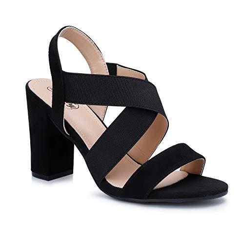 Trary Women's Elastic Strap Chunky Heel Block Dress Sandals Black 06