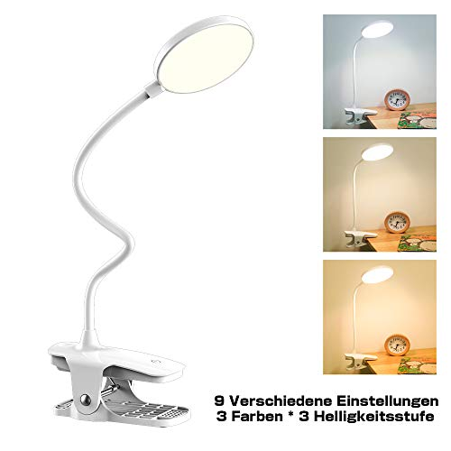 Leselampe Buch Klemme, Mefine 20 LED Klemmleuchte Bett Schreibtischlampe Schwanenhals Klemmleuchte, 3 Helligkeit 3 Farbtemperaturen Touch-Steuerung, USB Wiederaufladbar Klemmlampe, 360° Flexibel