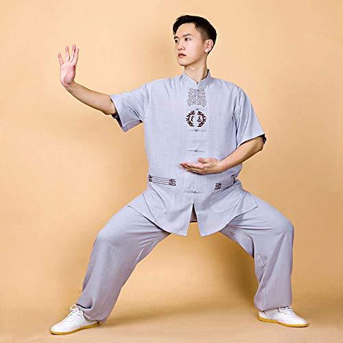 NIUXIAO Ropa De Tai Chi Ropa De Hombre, Manga Corta Bordado Kung Fu Uniforme - para Tai Chi Deportes Al Aire Libre,Grey-XXXL