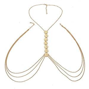 FemNmas Designer Antique Gold Coin Multi Chains Link Body Chain for Women & Girls