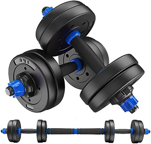 MOJEER ダンベル 可変式【最新進化版・3in1】10kg 20kg 30kg 40kg 2個セット バーベルにもなる ダンベル 無臭素材 静音XK. (5kg×2個セット /ブルー)