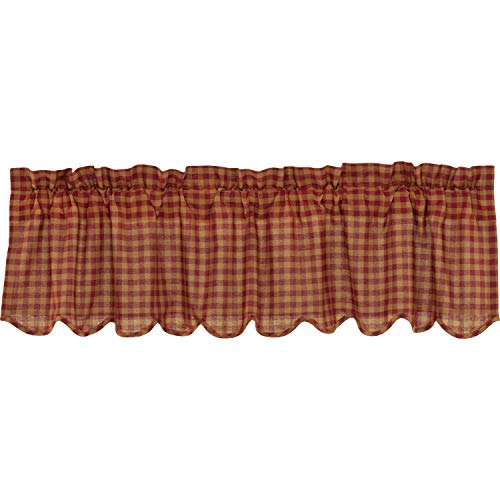 VHC Brands Burgundy Check Scalloped Valance Window Country Kitchen Lined in Cotton Curtain, 16x60, Red
